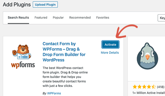 Activate WordPress Plugin