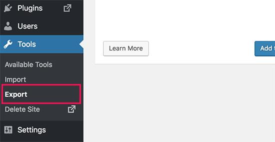 Export tool on WordPress