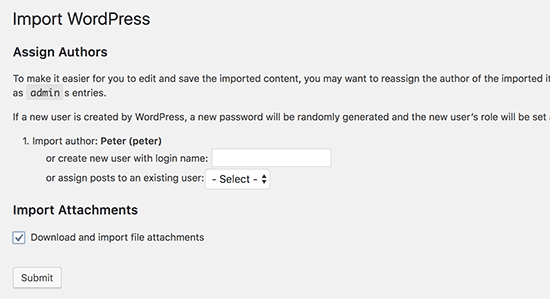 WordPress Import Option