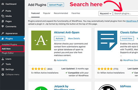 search for plugins
