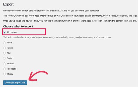 Export Content from Free WordPress