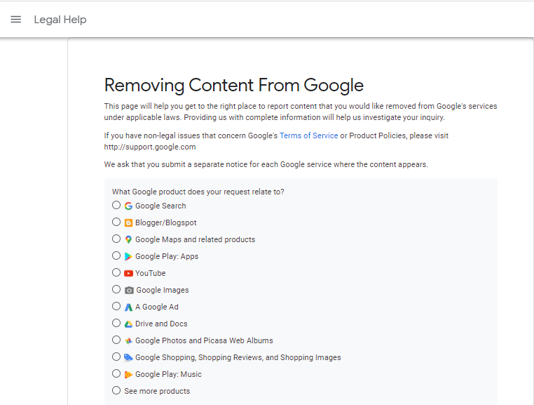 Removing Plagiarised Contents from Google